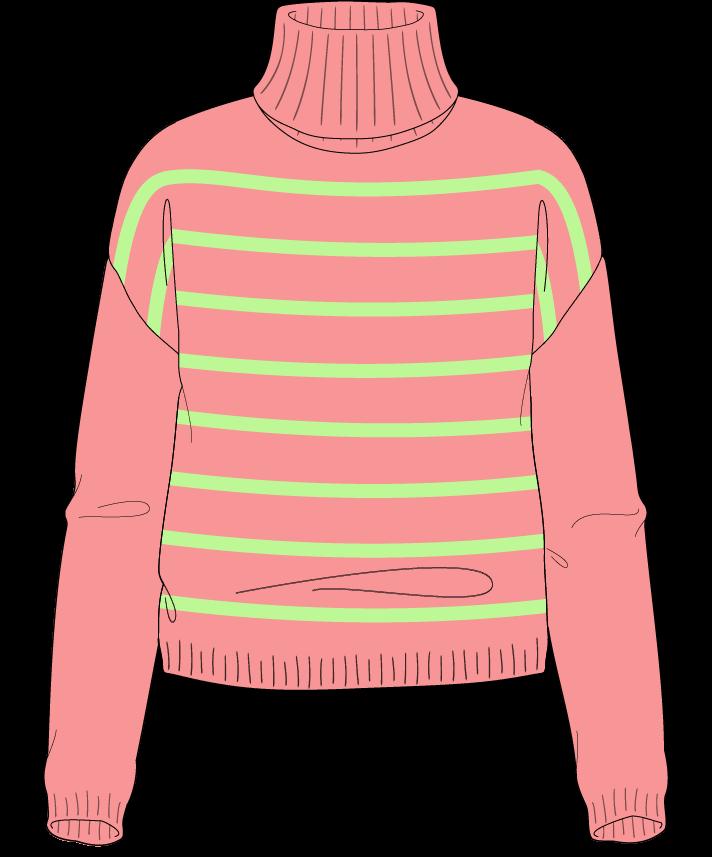 Regular fit Cropped body Turtleneck Long sleeve Narrow stripes Narrow stripes Plain dropshoulder sport 38