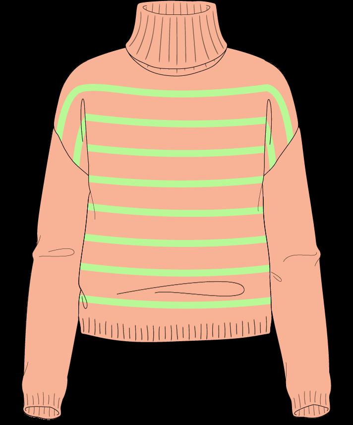 Regular fit Cropped body Turtleneck Long sleeve Narrow stripes Narrow stripes Plain dropshoulder worsted 30