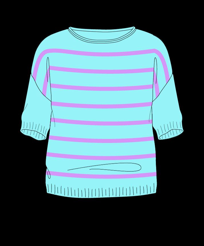 Regular fit Cropped body Boat neck Short sleeve Narrow stripes Narrow stripes Plain dropshoulder sport 42