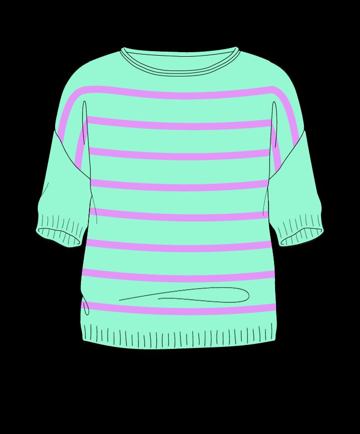 Regular fit Cropped body Boat neck Short sleeve Narrow stripes Narrow stripes Plain dropshoulder worsted 46