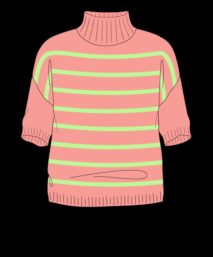 Regular fit Cropped body Mock turtleneck Short sleeve Narrow stripes Narrow stripes Plain dropshoulder worsted 46