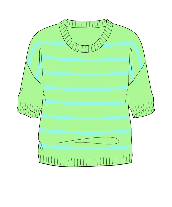 Regular fit Cropped body Scoop neck Short sleeve Narrow stripes Narrow stripes Plain dropshoulder sport 38
