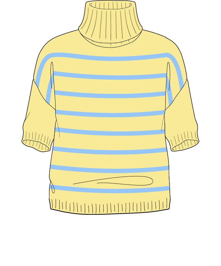 Regular fit Cropped body Turtleneck Short sleeve Narrow stripes Narrow stripes Plain dropshoulder sport 54
