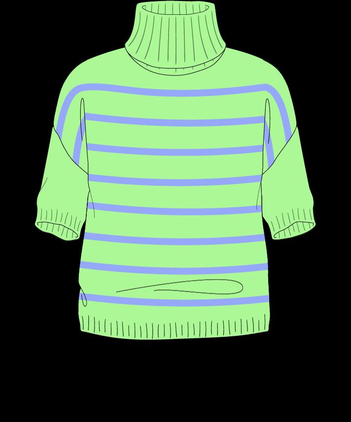 Regular fit Cropped body Turtleneck Short sleeve Narrow stripes Narrow stripes Plain dropshoulder worsted 42