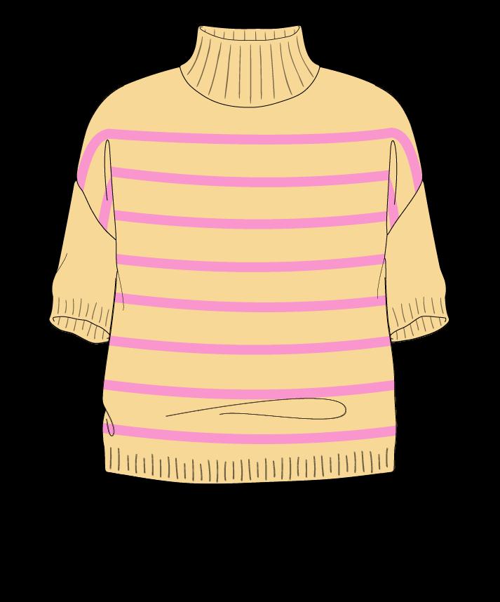 Relaxed fit Cropped body Mock turtleneck Short sleeve Narrow stripes Narrow stripes Plain dropshoulder sport 46