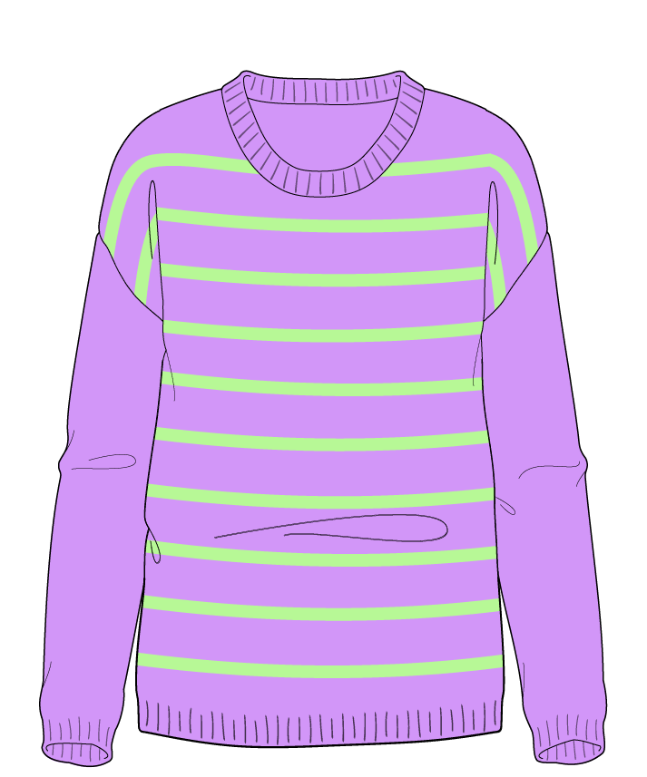 Regular fit Full length body Scoop neck Long sleeve Narrow stripes Narrow stripes Plain dropshoulder worsted 34