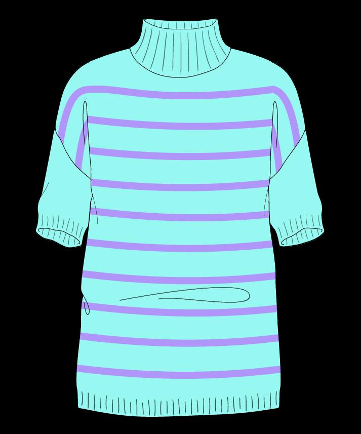Regular fit Full length body Mock turtleneck Short sleeve Narrow stripes Narrow stripes Plain dropshoulder sport 30