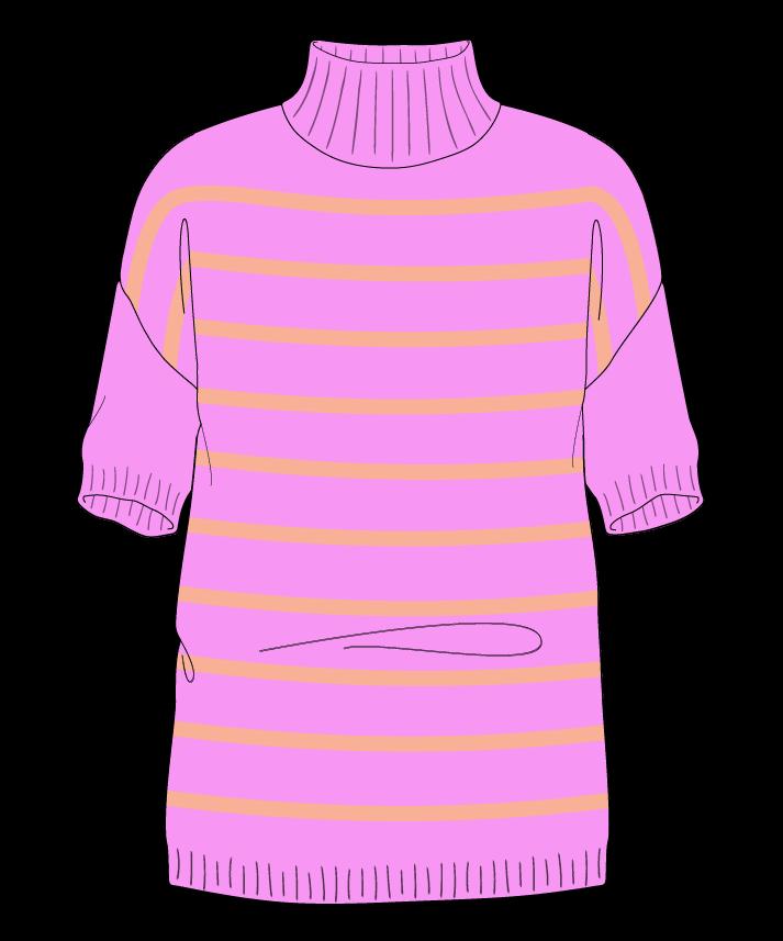 Regular fit Full length body Mock turtleneck Short sleeve Narrow stripes Narrow stripes Plain dropshoulder worsted 34