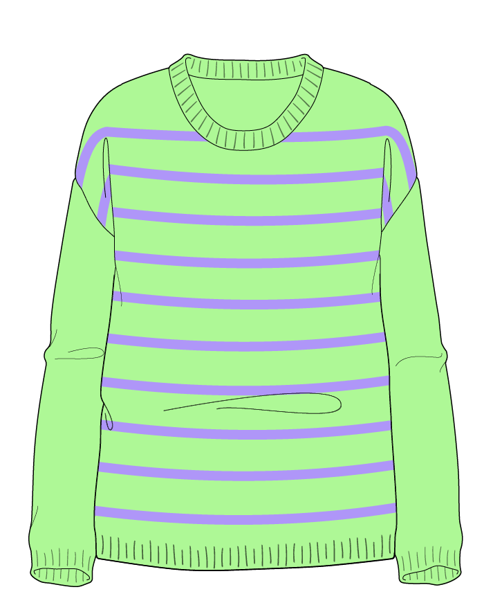 Relaxed fit Full length body Scoop neck Long sleeve Narrow stripes Narrow stripes Plain dropshoulder sport 50