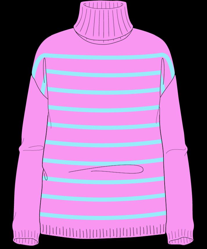 Relaxed fit Full length body Turtleneck Long sleeve Narrow stripes Narrow stripes Plain dropshoulder sport 42
