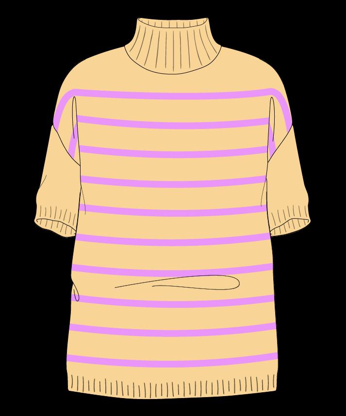 Relaxed fit Full length body Mock turtleneck Short sleeve Narrow stripes Narrow stripes Plain dropshoulder sport 34