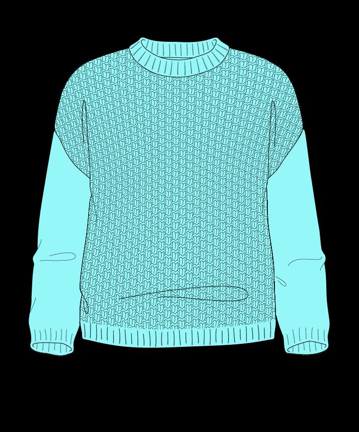 Regular fit Cropped body Crew neck Three quarter sleeve Basket weave Basket weave Plain dropshoulder dk 46
