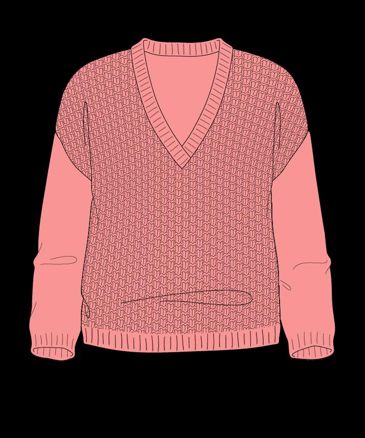 Regular fit Cropped body V-neck Three quarter sleeve Basket weave Basket weave Plain dropshoulder dk 38