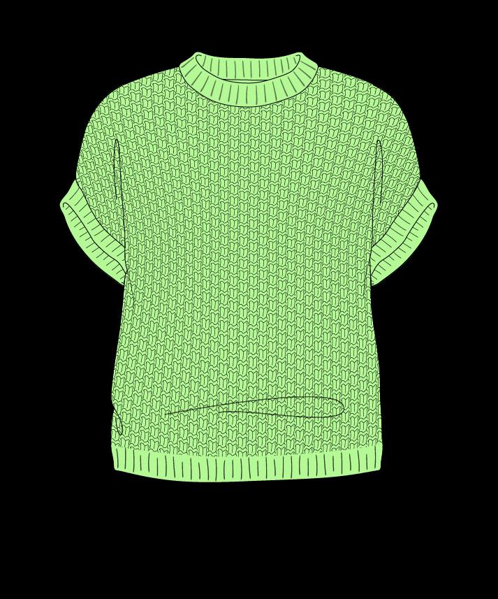 Regular fit Cropped body Crew neck Sleeveless Basket weave Basket weave Plain dropshoulder fingering 54