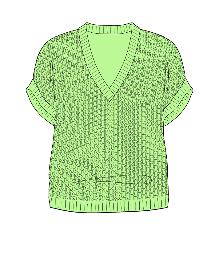 Regular fit Cropped body V-neck Sleeveless Basket weave Basket weave Plain dropshoulder dk 50