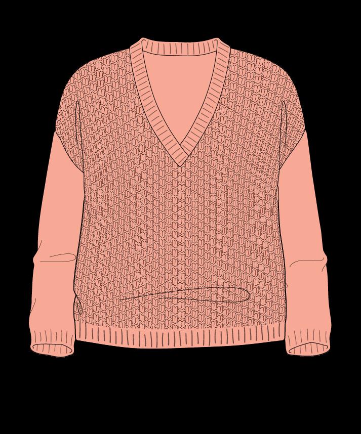 Relaxed fit Cropped body V-neck Three quarter sleeve Basket weave Basket weave Plain dropshoulder fingering 50