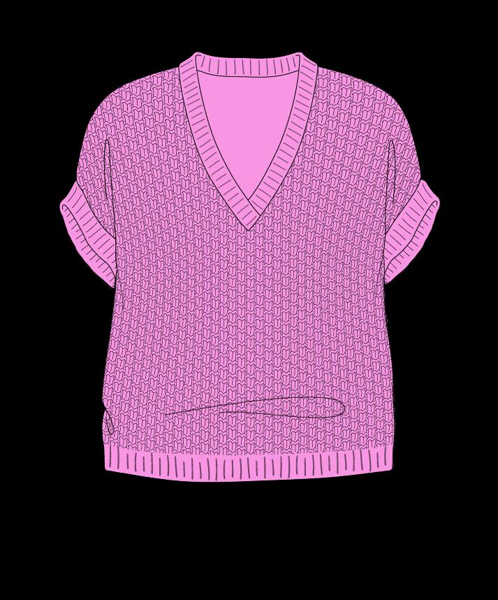 Relaxed fit Cropped body V-neck Sleeveless Basket weave Basket weave Plain dropshoulder fingering 54