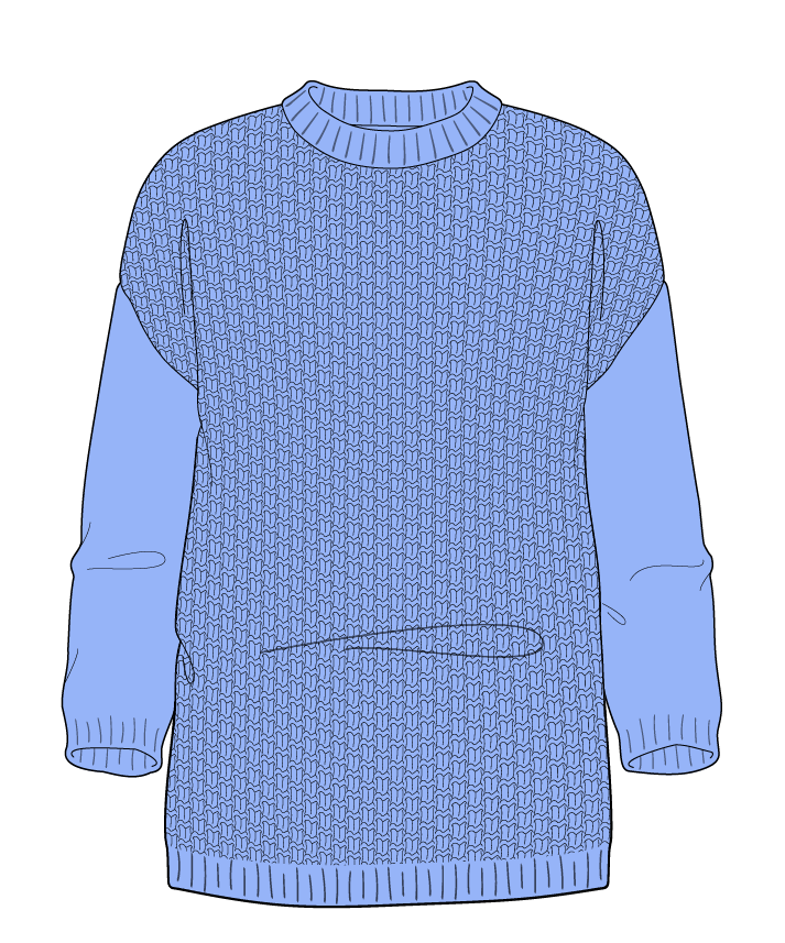 Regular fit Full length body Crew neck Three quarter sleeve Basket weave Basket weave Plain dropshoulder dk 46