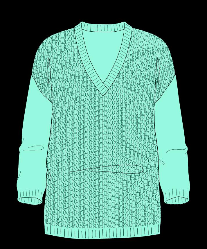 Regular fit Full length body V-neck Three quarter sleeve Basket weave Basket weave Plain dropshoulder dk 34