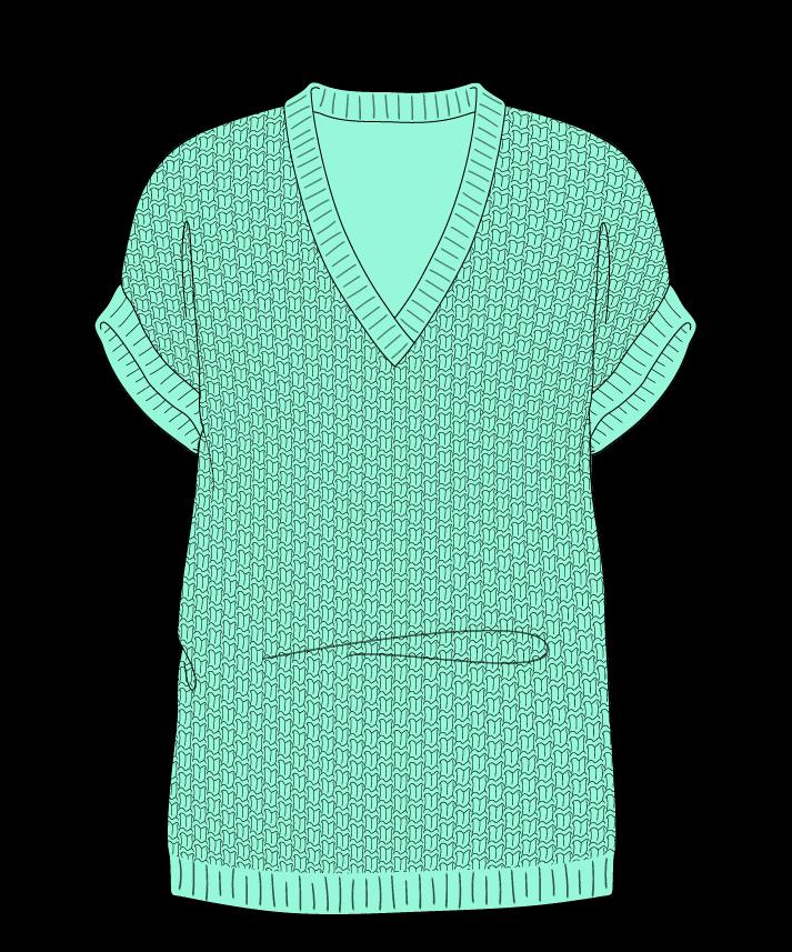 Regular fit Full length body V-neck Sleeveless Basket weave Basket weave Plain dropshoulder fingering 38