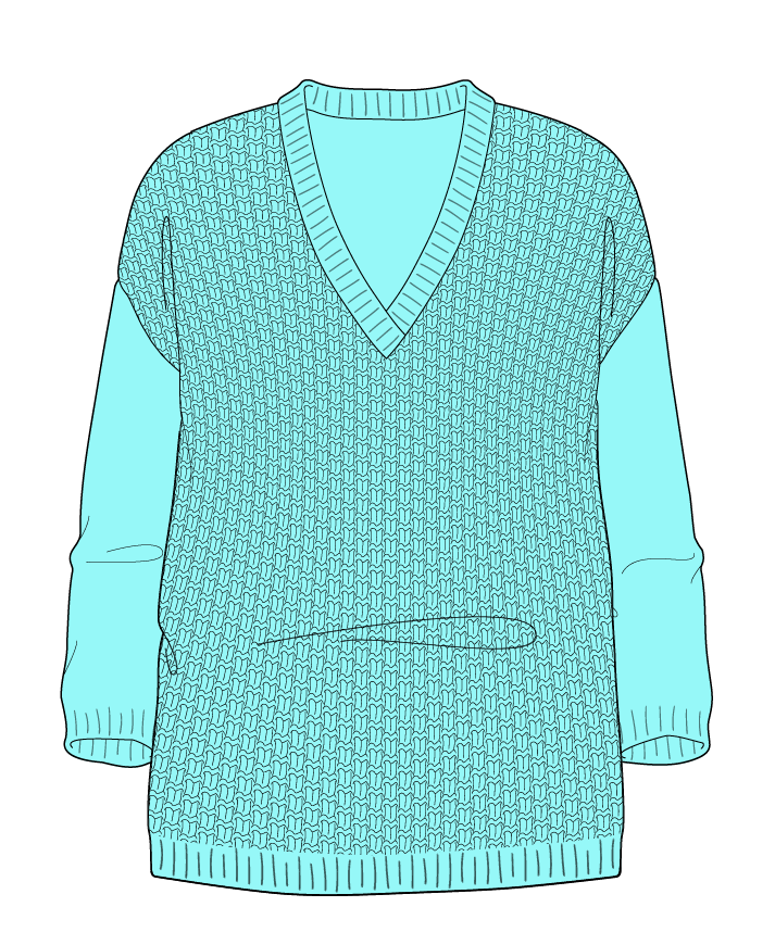 Relaxed fit Full length body V-neck Three quarter sleeve Basket weave Basket weave Plain dropshoulder dk 30