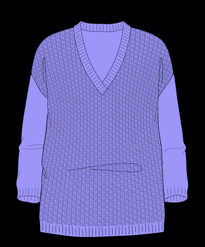 Relaxed fit Full length body V-neck Three quarter sleeve Basket weave Basket weave Plain dropshoulder fingering 54