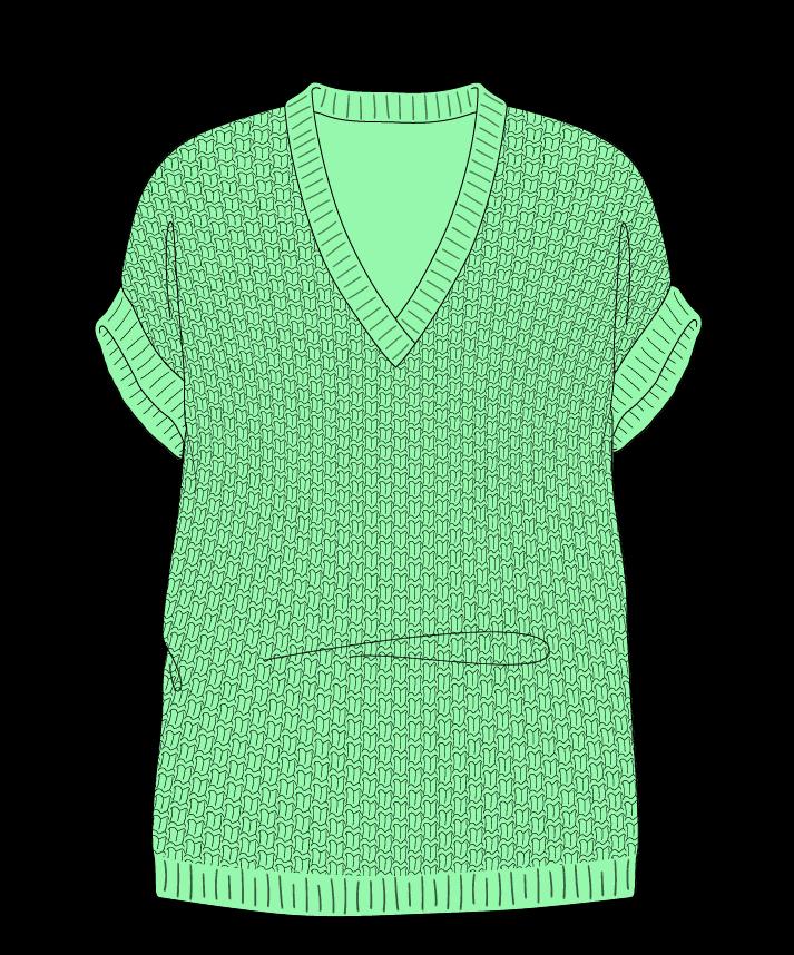 Relaxed fit Full length body V-neck Sleeveless Basket weave Basket weave Plain dropshoulder fingering 38