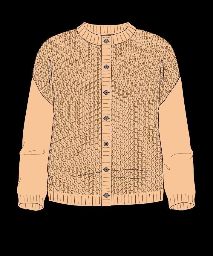 Regular fit Cropped body Crew neck Three quarter sleeve Basket weave Basket weave Plain dropshoulder-cardigan dk 42