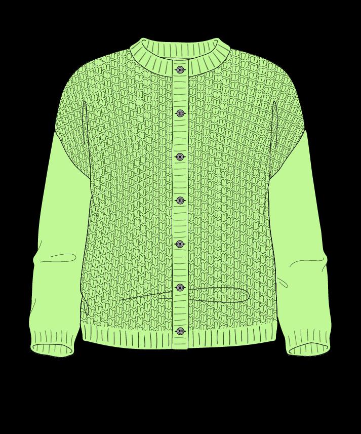 Regular fit Cropped body Crew neck Three quarter sleeve Basket weave Basket weave Plain dropshoulder-cardigan fingering 34