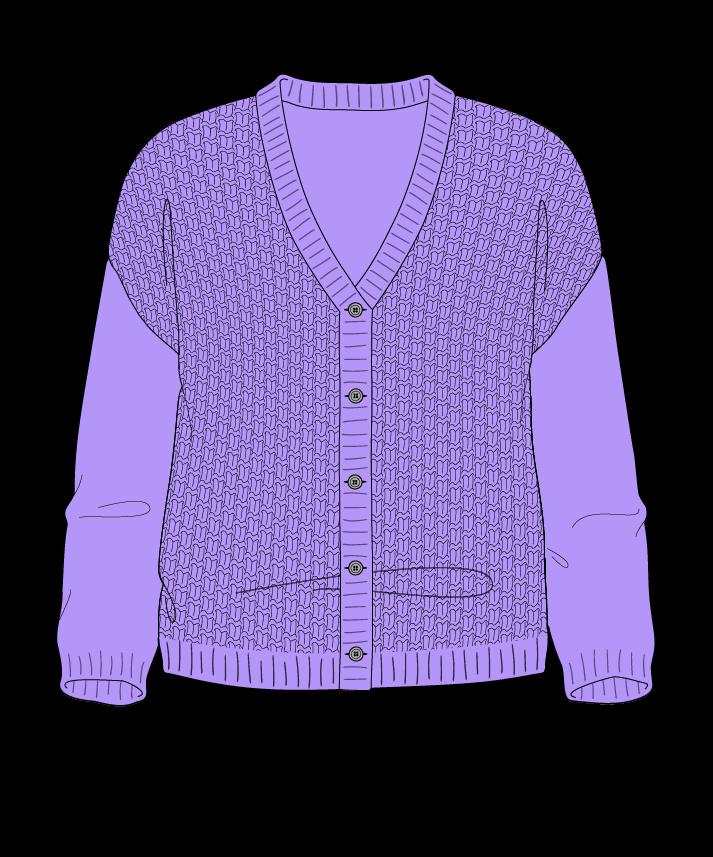 Regular fit Cropped body V-neck Three quarter sleeve Basket weave Basket weave Plain dropshoulder-cardigan dk 54