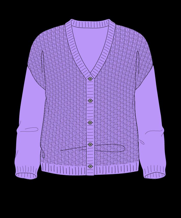 Regular fit Cropped body V-neck Three quarter sleeve Basket weave Basket weave Plain dropshoulder-cardigan fingering 34