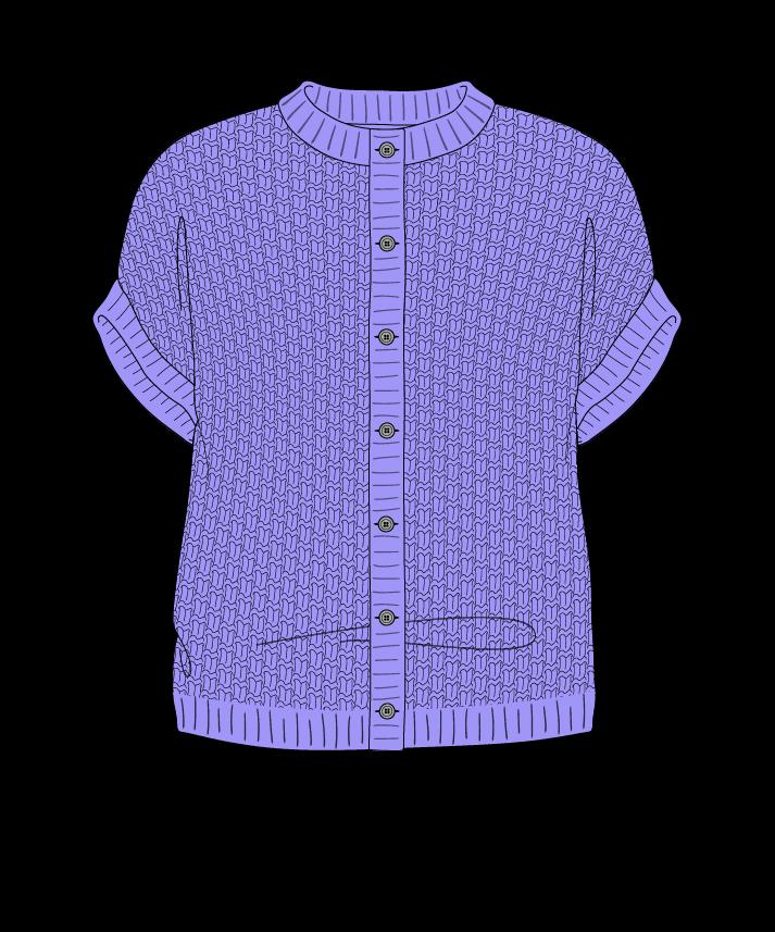 Regular fit Cropped body Crew neck Sleeveless Basket weave Basket weave Plain dropshoulder-cardigan dk 46