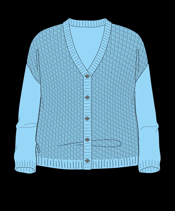 Relaxed fit Cropped body V-neck Three quarter sleeve Basket weave Basket weave Plain dropshoulder-cardigan dk 54