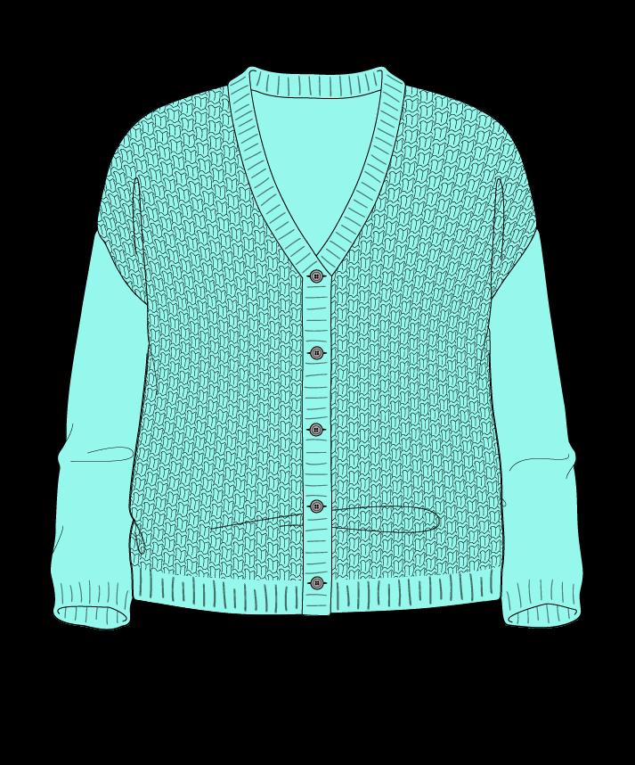 Relaxed fit Cropped body V-neck Three quarter sleeve Basket weave Basket weave Plain dropshoulder-cardigan fingering 46
