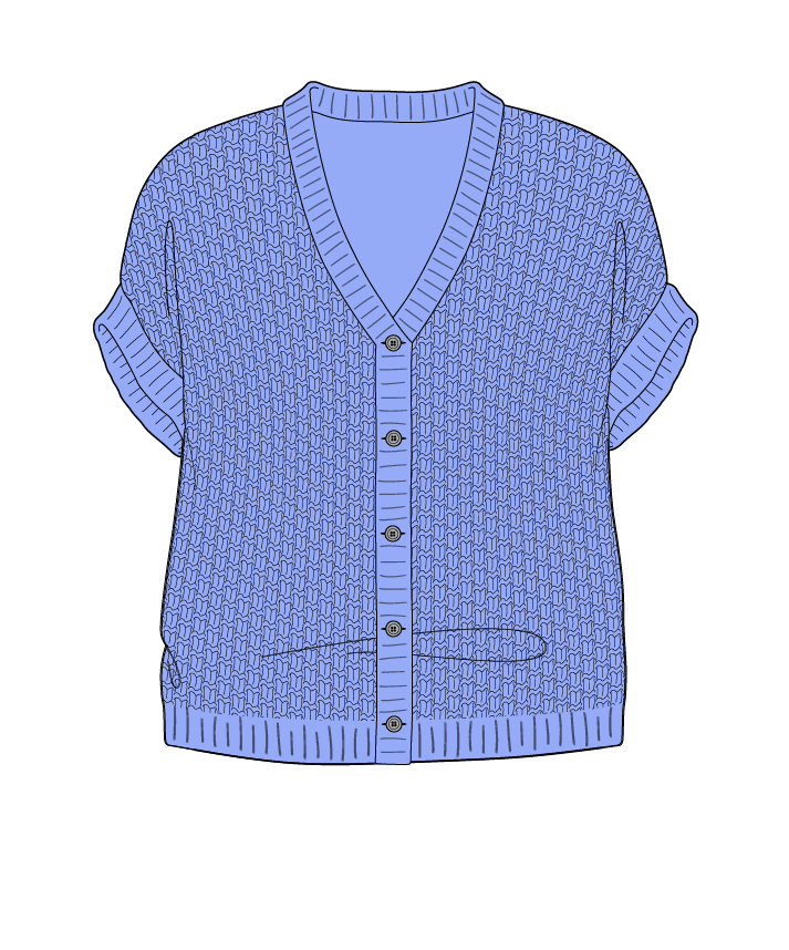 Relaxed fit Cropped body V-neck Sleeveless Basket weave Basket weave Plain dropshoulder-cardigan dk 50