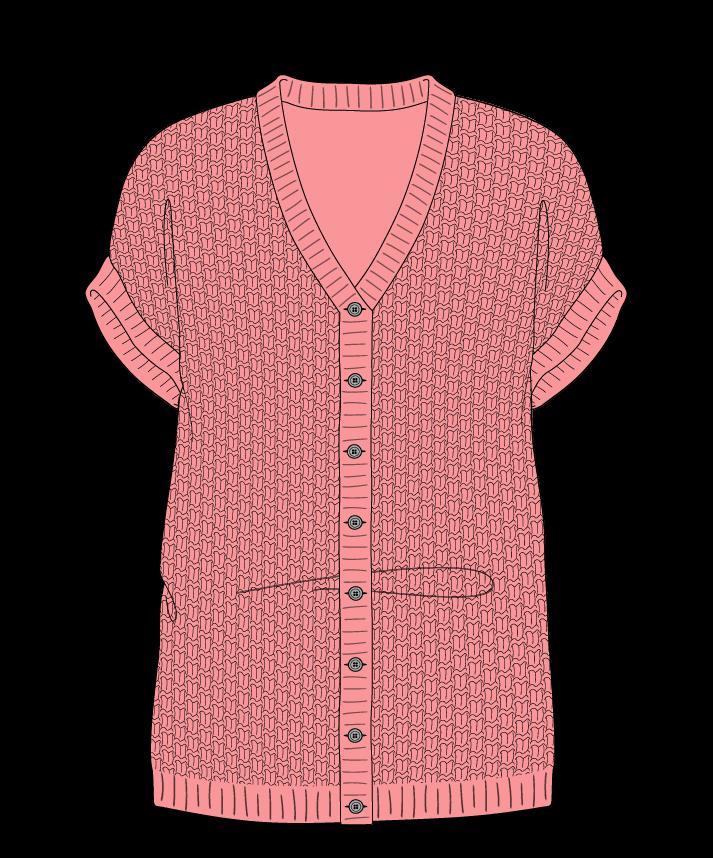 Regular fit Full length body V-neck Sleeveless Basket weave Basket weave Plain dropshoulder-cardigan dk 46
