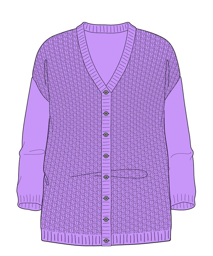 Relaxed fit Full length body V-neck Three quarter sleeve Basket weave Basket weave Plain dropshoulder-cardigan dk 34