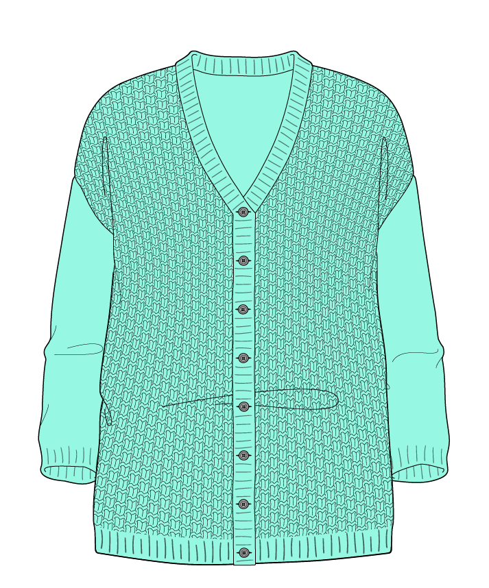 Relaxed fit Full length body V-neck Three quarter sleeve Basket weave Basket weave Plain dropshoulder-cardigan fingering 30