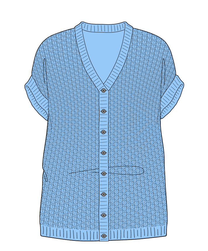 Relaxed fit Full length body V-neck Sleeveless Basket weave Basket weave Plain dropshoulder-cardigan fingering 34