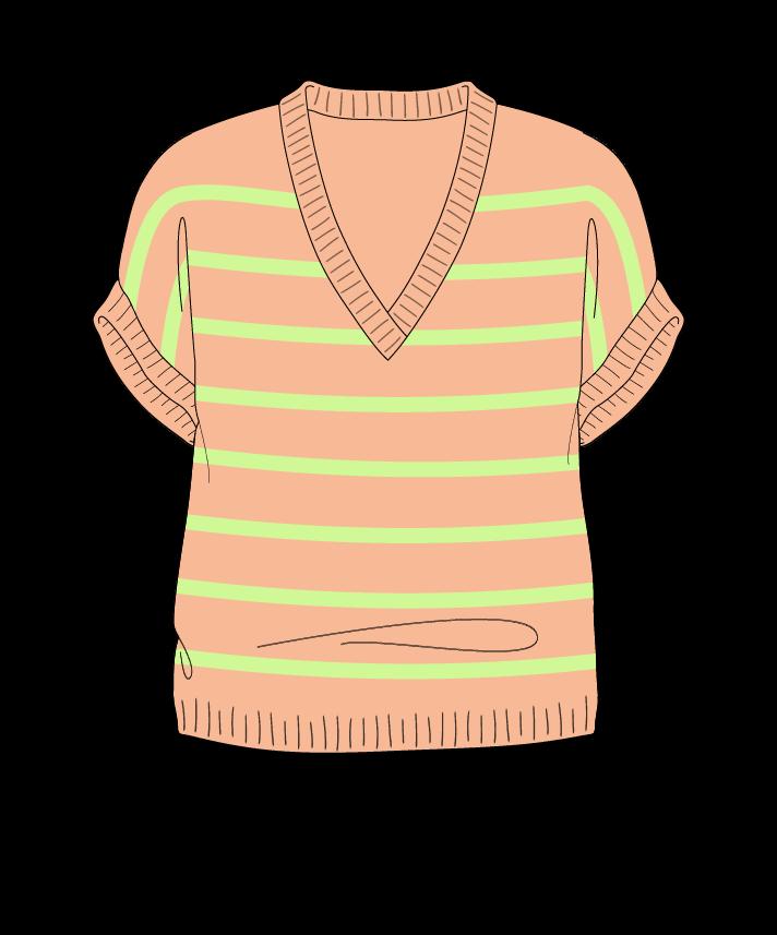 Regular fit Cropped body V-neck Sleeveless Narrow stripes Narrow stripes Plain dropshoulder dk 38