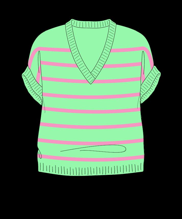 Relaxed fit Cropped body V-neck Sleeveless Narrow stripes Narrow stripes Plain dropshoulder dk 50