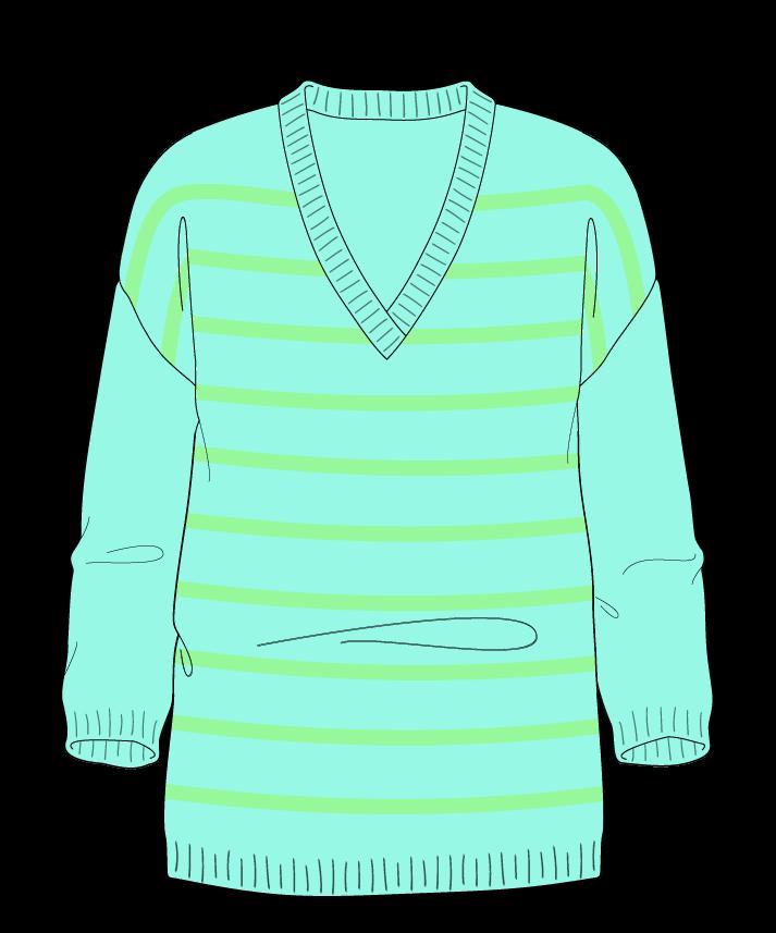 Regular fit Full length body V-neck Three quarter sleeve Narrow stripes Narrow stripes Plain dropshoulder dk 42