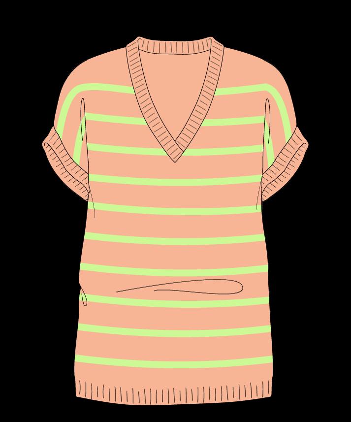 Regular fit Full length body V-neck Sleeveless Narrow stripes Narrow stripes Plain dropshoulder dk 42