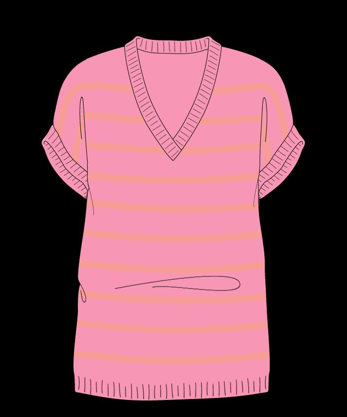 Regular fit Full length body V-neck Sleeveless Narrow stripes Narrow stripes Plain dropshoulder fingering 42