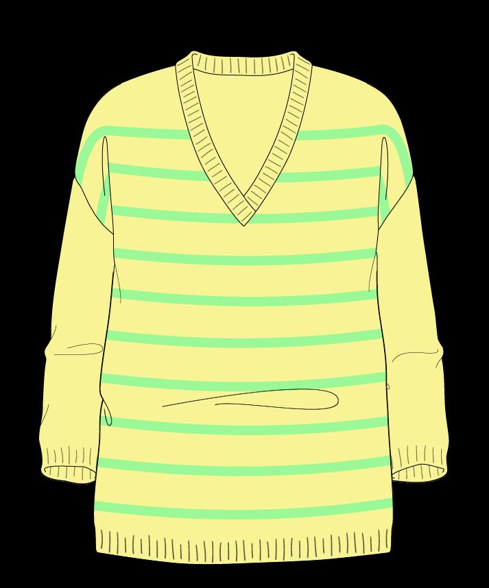 Relaxed fit Full length body V-neck Three quarter sleeve Narrow stripes Narrow stripes Plain dropshoulder dk 50