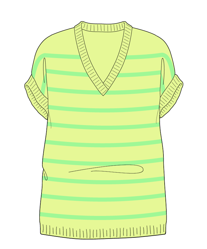 Relaxed fit Full length body V-neck Sleeveless Narrow stripes Narrow stripes Plain dropshoulder dk 34