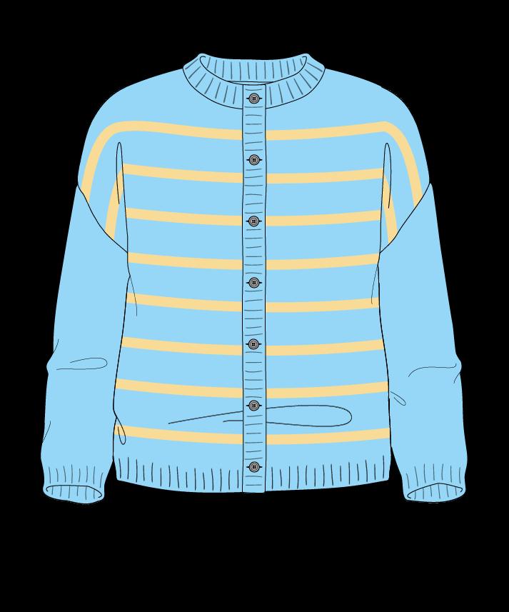 Regular fit Cropped body Crew neck Three quarter sleeve Narrow stripes Narrow stripes Plain dropshoulder-cardigan fingering 30