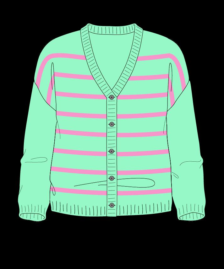 Regular fit Cropped body V-neck Three quarter sleeve Narrow stripes Narrow stripes Plain dropshoulder-cardigan dk 34