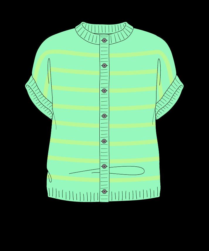 Regular fit Cropped body Crew neck Sleeveless Narrow stripes Narrow stripes Plain dropshoulder-cardigan dk 46