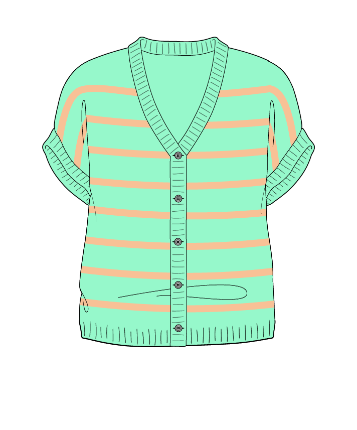 Regular fit Cropped body V-neck Sleeveless Narrow stripes Narrow stripes Plain dropshoulder-cardigan dk 54